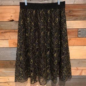 LulaRoe Full Gold Lace A-line Skirt